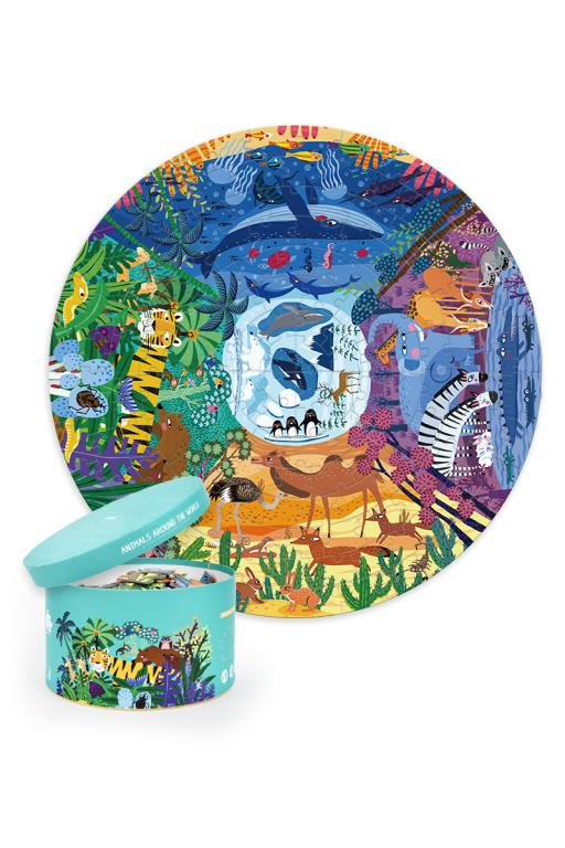 Animales alredor del mundo - Puzzle redondo